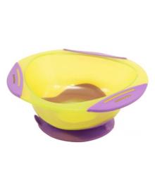 Тарелка на присоске Baby Team желто-сиреневая, 300 мл
