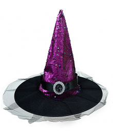 Колпак Ведьмы в пайетках (фиолетовый) 100919-001
