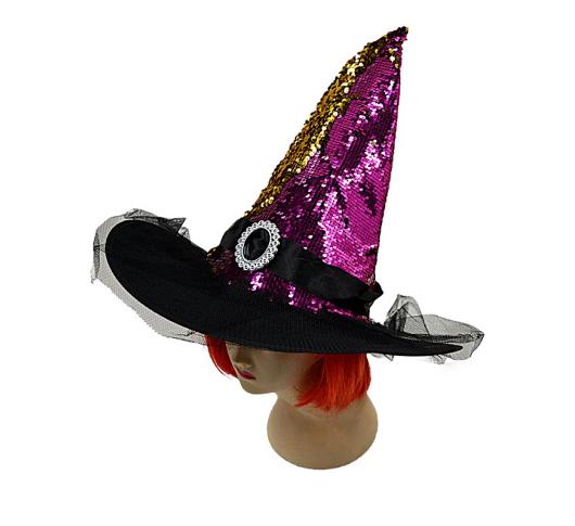 Колпак Ведьмы в пайетках (малиновый) 100919-002