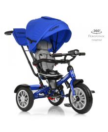 Трехколесный велосипед Turbo Trike M 4057-10, надувные резиновые колеса, синий TURBOTRIKE