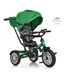 Трехколесный велосипед Turbo Trike M 4057-4, надувные резиновые колеса, зеленый TURBOTRIKE