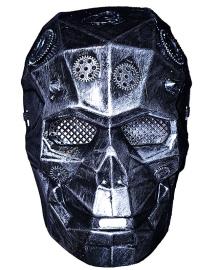 Маска Киборг череп стимпанк (серебро) 031019-047