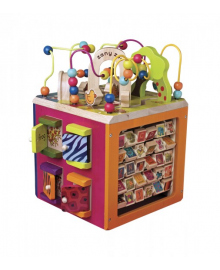Развивающая деревянная игрушка - ЗОО-КУБ (размер 34х30х45 см) BATTAT KIDDI-BX1004X