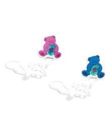 Цепочка для пустышки с клипсой Lindo Bears blue&pink
