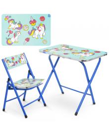 Детский столик A19-BLUE UNI со стульчиком, Единорог