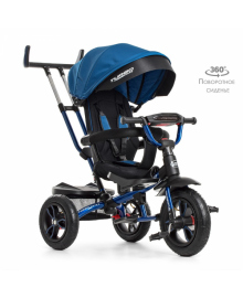 Детский трехколесный велосипед Turbo Trike M 4058-10, надувные колеса, синий индиго TURBOTRIKE