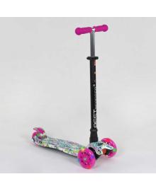 """Самокат А 25535 /779-1333 MAXI """"Best Scooter"""" (1) пластмассовый, 4 колеса PU, СВЕТ, трубка руля алюминиевая, d=12см, в коробке"""