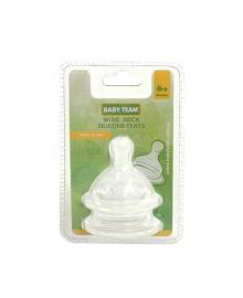 Соска силиконовая классическая для бутылочки с широким горлом (быстрый поток), 2 шт. Baby team 2022