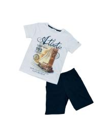 Белая футболка с парусником и синие шорты Mininio 61M3NCO76