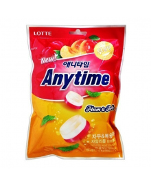 Леденцы без сахара Lotte Anytime со вкусом сливы, персика и мяты, 74 г