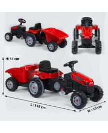 Трактор педальный с прицепом 07-316 RED Красный 77233