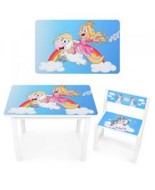 Детский столик BSM1-35 со стульчиком, принц и единорог