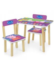 Детский столик 501-80, Свинка Пеппа, со стульчиками