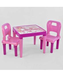 Стол с двумя стульчиками 03-414 (4) ЦВЕТ РОЗОВЫЙ в коробке PILSAN Igr-76440