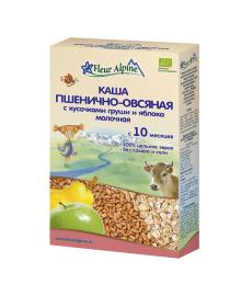 Каша органическая Fleur Alpine Пшенично-овсяная с грушей и яблоком 200 г