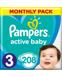 Подгузники Pampers Active Baby Размер 3 Midi 6-10 кг 208 шт