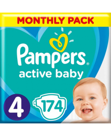 Подгузники Pampers Active Baby Размер 4 Maxi 9-14 кг 174 шт
