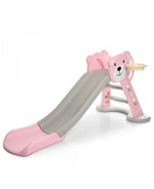 Детская горка HF-H008-8, розово-бежевая, мишка