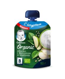 Пюре Gerber Organic Яблоко с йогуртом и злаками 90 г