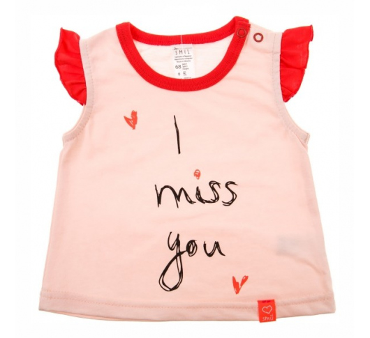 Футболка SMIL I miss you персикового цвета 110497