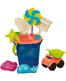 Набор для игры с песком и водой  - ВЕДЕРЦЕ МОРЕ (9 предметов) BATTAT BX1330Z, 4890920213309