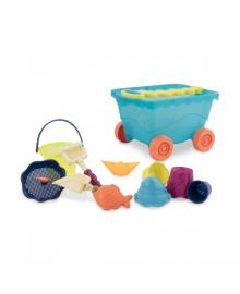 Набор для игры с песком и водой - ТЕЛЕЖКА МОРЕ (11 предметов) BATTAT BX1596Z, 6900001176787