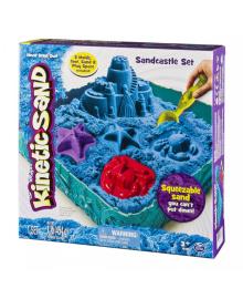 Набор песка для детского творчества - KINETIC SAND ЗАМОК ИЗ ПЕСКА (голубой, 454 г, формочки, лоток)