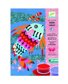 """DJECO Художественный комплект рисование цветным песком и блестками """"Радужные рыбки"""" DJ08661, 3070900086616"""