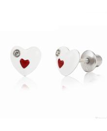 UMa&UMi Пусеты  Сердце в серце  бело-Красный  (6х7 мм)