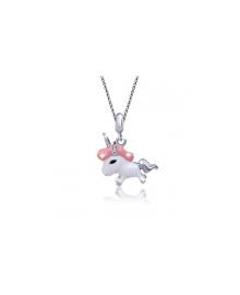 UMa&UMi  Кулон Единорог розовый (17х17 мм)