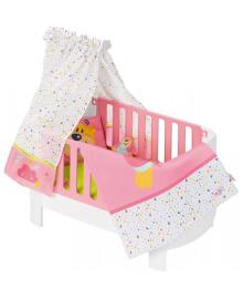 ZAPF Кроватка для куклы BABY BORN - Спокойной ночи (звук, с игрушкой и постельным бельем)