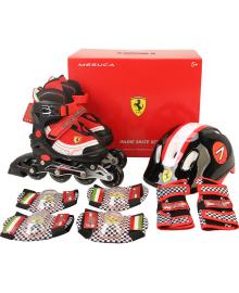 FERRARI Набор детский (роликовые коньки 4 колесные, шлем, комплект защиты) красные р.34-38, FK11-1