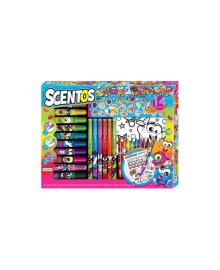 SCENTOS Ароматный набор для творчества - ЗАБАВНАЯ КОМПАНИЯ (маркеры, воск.карандаши, наклейки, раскраска)