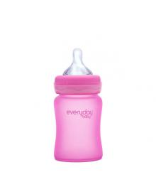 Стеклянная термочувствительная детская бутылочка Everyday Baby 150 мл. Цвет малиновый 10202, 7350077262027
