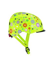 GLOBBER Шлем защитный детский (цветы зеленый, с фонариком, 48-53 см)