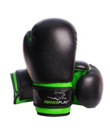 Боксерские перчатки PowerPlay 3004 JR черно-зеленые 6 унций