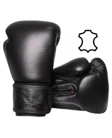 Боксерские перчатки PowerPlay 3014 черные (натуральная кожа) 10 унций