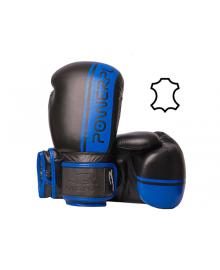 Боксерские перчатки PowerPlay 3022 A черно-синие [натуральная кожа] 10 унций