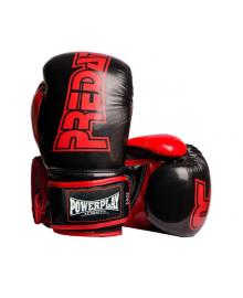 Боксерские перчатки PowerPlay 3017 черные карбон 8 унций