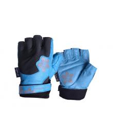 Перчатки для фитнеса PowerPlay 1733 B женские черно-голубые XS