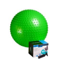 Мяч-массажер для фитнеса и гимнастики PowerPlay 4002 65см салатовый + насос