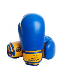 Боксерские перчатки PowerPlay 3004 JR сине-желтые 6 унций