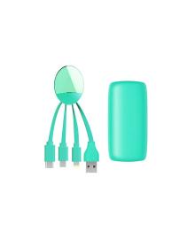 Внешн.порт.аккум.батареяXOOPAR - WEEKENDER (Li-Pol,5000мА*ч,мят,с каб.Тype-C,Lighting,microUSB,USB)