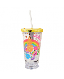"YES Тамблер-стакан с подсветкой ""Unicorn"", 490мл, фольга, с трубочкой"