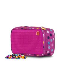 """PIXIE CREW Пенал """"Разноцветные пузырьки"""" с пикселями (100шт.), цвет поля - насыщенный розовый"""