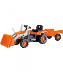 Трактор на педалях з причіпом та ковшом DOLU темно-помаранчевий (8052)