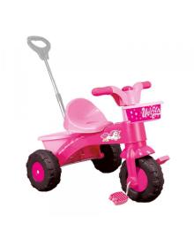 Трёхколёсный велосипед с родительской ручкой DOLU розовый (2504)