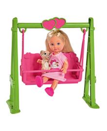 Кукла Steffi & Evi Love Эви на качелях с любимцем