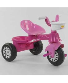 Трехколесный велосипед Pilsan 07-140 P (1) цвет РОЗОВЫЙ, с белыми ручками,пластиковые колеса с прорезиненой накладкой, корзинка, багажник, в кульке Igr-88383