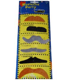 Набор накладных усов 6 разноцветные 240216-385